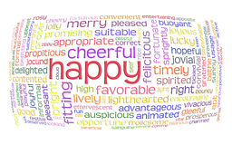 Happy cheerful word cloud Stock Photos
