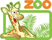 Happy and cheerful young cartoon giraffe. Stock Photo