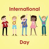International Youth Day, 12 August. Happy and cheerful youth conceptual illustration Vector Illustration