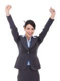 Happy cheering businesswoman winning Stock Photo