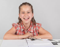 Happy cheering schoolkid Stock Photography