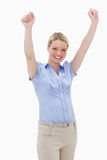 Happy cheering woman. Against a white background Royalty Free Stock Images