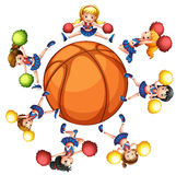 Happy cheerleaders around basketball Stock Image