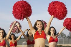 Happy Cheerleaders Cheering Royalty Free Stock Photos
