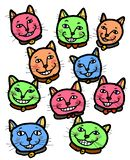 Happy Cheery Smiling Cats. A group of happy cheery smiling cats friendship royalty free illustration