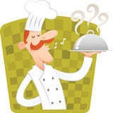 Happy Chef. Carrying covered dish Stock Photos