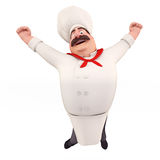 Happy chef with big jump Royalty Free Stock Photography