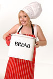 Happy Chef with bread bin Stock Images