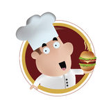 Happy chef with burger Stock Images