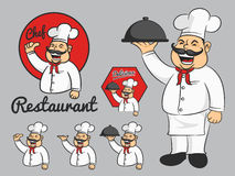 Happy chef cartoon mascot thumbs up and hold the dish. Royalty Free Stock Images