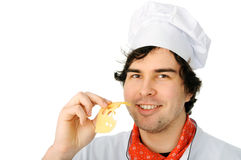 Happy chef with cheese Royalty Free Stock Photography