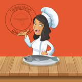 Happy chef or cook icon image. Happy chef or cook with fish icon image  illustration design Stock Images