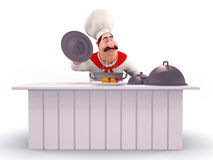 Happy Chef cooking vegetables Stock Photography