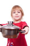 Happy chef girl stirring soup Stock Image