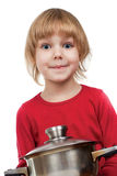 Happy chef girl stirring soup Royalty Free Stock Images