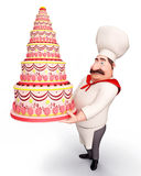 Happy Chef holding a cake Stock Photography