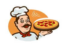 Happy chef holding a pizza tray. Logo or label, cartoon vector illustration. Isolated on white background stock illustration