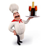 Happy chef holding wine bottle Stock Photos