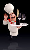 Happy chef holding wine bottle Stock Photo