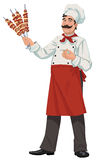 Happy chef - illustrations. Cook holds skewers with meat Stock Photo