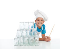Happy chef with jars for canning Royalty Free Stock Photo
