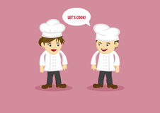 Happy Chef and Kitchen Assistant Vector Cartoon Characters Royalty Free Stock Images