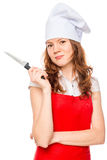 Happy chef with a knife Stock Photography