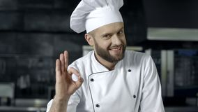 Happy chef making ok gesture at commercial kitchen. Chef man posing at kitchen. Restaurant. Portrait of smiling chef at kitchen. Professional cook making ok stock footage