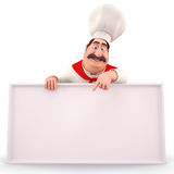 Happy chef pointing towards sign happily. Stock Images