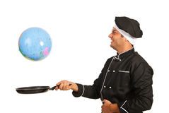 Happy chef reach world globe in pan Stock Photos