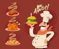 Happy Chef serving the dish. Vector set Royalty Free Stock Images