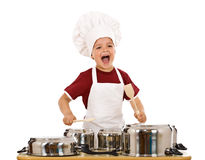 Happy chef shouting and banging the cooking pots Royalty Free Stock Photography