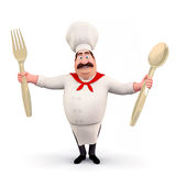 Happy chef with spoons Stock Photos