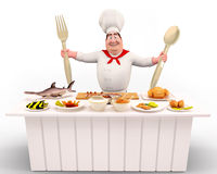 Happy Chef standing with spoons Stock Photos