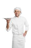Happy chef with tray isolated Stock Photo