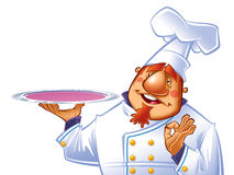 Chef. Happy chef with a tray making a perfect gesture Stock Image