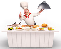 Happy Chef walking with non-veg dish Royalty Free Stock Images