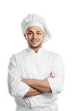 Happy chef in white uniform Royalty Free Stock Photo