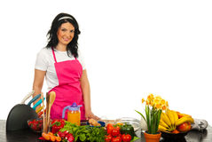 Happy chef woman Royalty Free Stock Photo