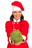 Happy chef woman with broccoli Stock Image