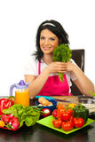 Happy chef woman ready to cook Stock Images