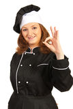 Happy chef woman showing okay Royalty Free Stock Photo