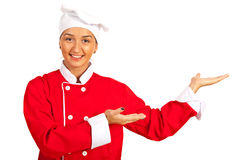 Happy chef woman welcoming Stock Images