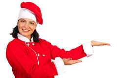 Happy chef woman welcoming Stock Photos