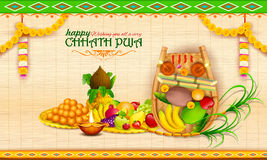 Happy Chhath Puja Holiday background for Sun festival of India Stock Images