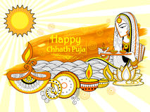 Happy Chhath Puja Holiday background for Sun festival of India. Illustration of Happy Chhath Puja Holiday background for Sun festival of India Stock Photography