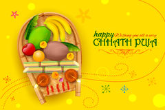 Happy Chhath Puja Holiday background for Sun festival of India Stock Image