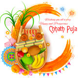 Happy Chhath Puja Holiday background for Sun festival of India. Illustration of Happy Chhath Puja Holiday background for Sun festival of India Royalty Free Stock Images