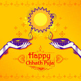 Happy Chhath Puja Holiday background for Sun festival of India Stock Photo