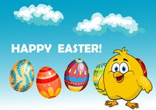 Happy chick in an Easter card design Royalty Free Stock Photo